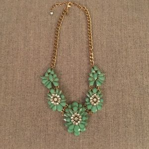 Green Flower Statement Necklace